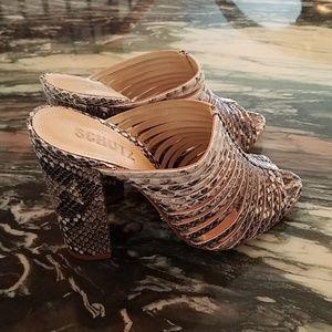 Schutz Veronika Pearl Snakeskin Sandals